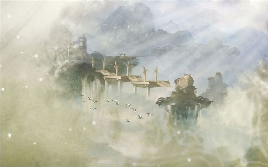 仙剑5水墨风景图壁纸 梦幻唯美背景图片(10)