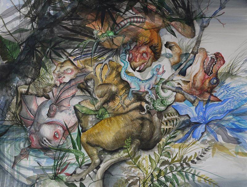 """超现实油画:秘鲁画家的""""僵尸""""王国"""