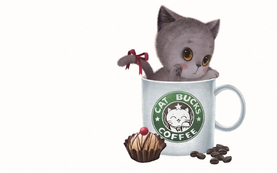 小猫咪杯中天使可爱卖萌高清桌面壁纸